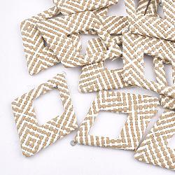 Handmade Raffia Woven Big Pendants, with Iron & Aluminum Findings, Rhombus, Platinum, NavajoWhite, 69x48.5x4mm, Hole: 1.8mm(X-WOVE-T005-39G)