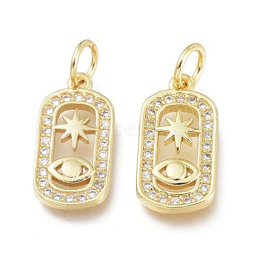 Brass Micro Pave Clear Cubic Zirconia Charms, with Jump Ring, Long-Lasting Plated, Oval with Star & Eye, Real 18K Gold Plated, 13.5x8.5x2mm, Jump Ring: 5x0.7mm, 3.6mm Inner Diameter(X-ZIRC-L076-053G)