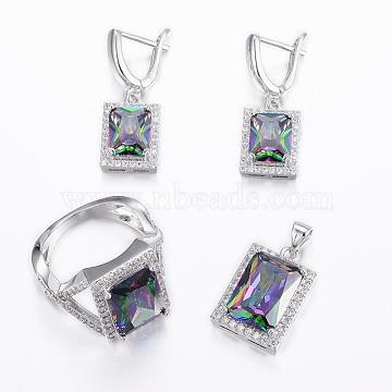 Brass Micro Pave Cubic Zirconia Jewelry Sets, Pendants & Hoop Earrings & Finger Rings, Rectangle, Platinum, Colorful, Size 6~10(16~20mm); 25x13.5x7mm, Hole: 5x3.5mm; 31x11x16mm, Pin: 1mm(SJEW-H078-M-31)