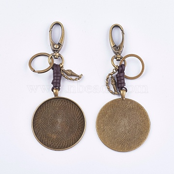 Alloy Keychain Findings, Cabochon Settings, Cadmium Free & Lead Free, Flat Round and Ice cream, Antique Bronze, Tray: 50mm; 130mm(KEYC-K011-55AB)
