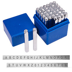 timbres de sceau de fer, y compris la lettre a ~ z, nombre 0~8 et esperluette &, platine, 64x8x8 mm; motif: 6 mm; 36 pcs / boîte(AJEW-BC0005-48)