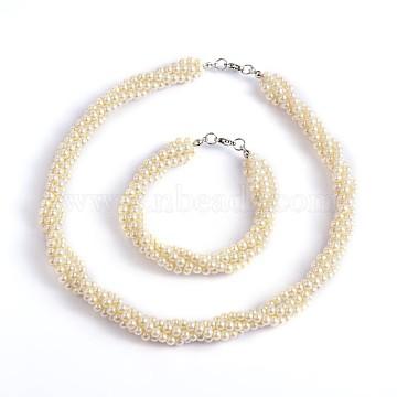 Beige Glass Bracelets & Necklaces