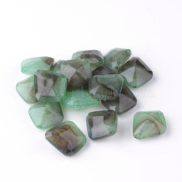 Crackle Acrylic Beads, Two Tone Color, Faceted, Kite/Quadrilateral, LightGreen, 23x20x10mm, Hole: 1.5mm; about 266pcs/500g(OACR-Q136-03)