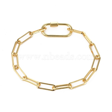 Brass Paperclip Chain Bracelets, with Oval Screw Carabiner Lock Charms, Golden, 8 inches(20.3cm)(BJEW-JB05311)