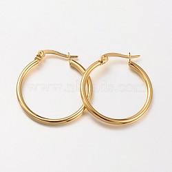 anneau 304 acier inoxydable boucles d'oreilles, boucles d'oreilles hypoallergéniques, or, 23~25x2 mm; broches: 1x0.7 mm(EJEW-N0016-11G-C)