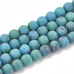 Natural Chrysocolla Beads Strands, Frosted, Round, 6~6.5mm, Hole: 1mm; about 63pcs/strand, 15.5