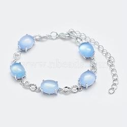 """Bracelets en chaîne à maillons en agate naturelle, avec les accessoires en laiton, Platine plaqué réel, ovale et infini, 5-3/4""""~6"""" (14.5~15 cm)(BJEW-G595-A04)"""