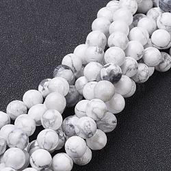 драгоценный камень бисер нитей, природные круглых бусин Говлит, белый, о 8 mm в диаметре, отверстия: около 1 mm, 15~16 дюймов
