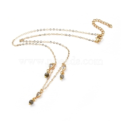 Natural Labradorite Bib Statement Necklaces, with Brass Cable Chains, Brass Cubic Zirconia Links, 304 Stainless Steel Lobster Claw Clasps and Cardboard Packing Box, Golden, 16.3 inches(41.5cm)(NJEW-JN02582-01)