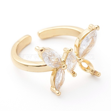 Brass Micro Pave Clear Cubic Zirconia Cuff Rings, Open Rings, Long-Lasting Plated, Butterfly, Real 18K Gold Plated, US Size 7 1/4(17.5mm)(RJEW-Z006-M-01G)