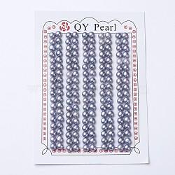 естественный культурный жемчуг пресноводных, половине просверлил, вокруг, slateblue, 4.5~5x4 mm, отверстия: 1 mm(PEAR-I004I-01)