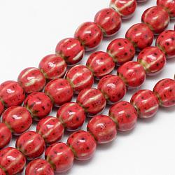Perles en porcelaine manuelles, le style antique vitrée fantaisie, citrouille, rouge, 10x11~12mm, Trou: 2.5mm(PORC-Q228-01)