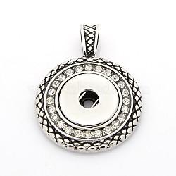 старинные литые кристалл горный хрусталь кулон задатки для кнопках, плоские круглые, кадмия и никеля и свинца, Старинное серебро, 47x34x5 mm, отверстия: 10x5 мм; Ручка: 5~6 мм(X-MAK-O006-02-NR)