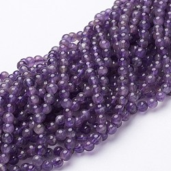 16inches Amethyst Strands, Round, about 95pcs/strand, 4mm in diameter, hole: 0.8mm
