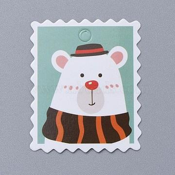 Bear Pattern Christmas Kraft Paper Tags, Gift Tags Hang Labels, for Arts Crafts Wedding Christmas Festival, White, 5x4x0.04cm, Hole: 4.5mm(CDIS-E010-02B)