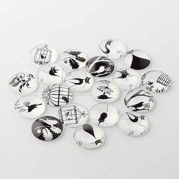Retro Black and White Picture Glass Cabochons, Half Round/Dome, 10x4mm(X-GGLA-A002-10mm-NN)