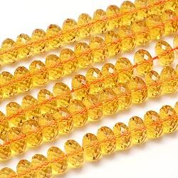 граненые культивируемые пьезоэлектрические цитриновые бусы, имитация, качество АА, окрашенная и подогревом, золотарник, 12x8 mm, отверстия: 1.2 mm; о 50 шт / прядь, 15.5(G-I152-8x12-S-AA)