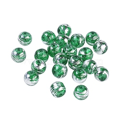 Drawbench perles de verre transparentes, rond, verte, 10mm, Trou: 1.6mm(GLAD-G002-10mm-01)