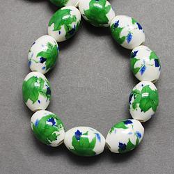 Handmade Printed Porcelain Beads, Oval, Green, 14x18x14mm, Hole: 3mm(X-PORC-Q151-14mm-10)
