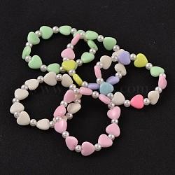 Acrylique opaque bracelets en perles extensibles pour enfants, avec imitation perles acryliques de perles, couleur mixte, 43mm(BJEW-JB02070)