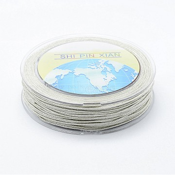 Polyester Cord, Metallic String Thread For Jewelry Making, Silver, 1mm, about 32.8 yards(30m)/roll(NWIR-I011-D02)