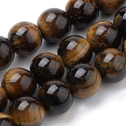 Natural Tiger Eye Beads Strands, Round, 8mm, Hole: 1mm; about 50pcs/strand, 15.7inches