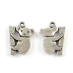 Тибетский стиль сплава цинка подвески, без свинца и без кадмия, коала, античное серебро, 19.3x14.5x2 мм, отверстие : 1.5 мм