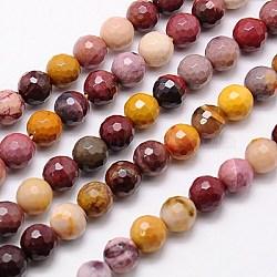 """Chapelets de perles en mookaite naturelles, facette, rond, couleur mixte, 12mm, trou: 1mm; environ 33 pcs/chapelet, 15.75""""(G-G542-12mm-05)"""