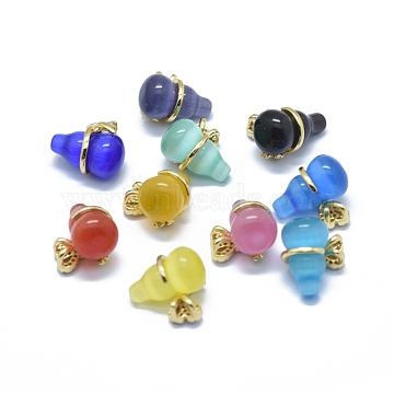 Cat Eye Pendants, with Brass Micro Pave Cubic Zirconia Findings, Calabash, Golden, Mixed Color, 14.5x16x11mm, Hole: 2x3mm(KK-F795-15G-A)