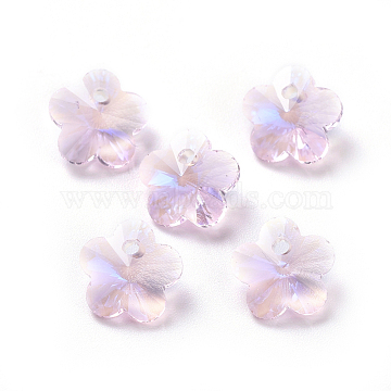 Glass Rhinestone Charms, Faceted, Plum Blossom, Light Rose, 7.5x8x4.5mm, Hole: 1mm(X-RGLA-L020-A-223MO)