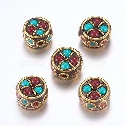Perles Indonésiennes manuelles, avec les accessoires en laiton, sans nickel, plat rond, non plaqué, 12~13x7.5~9mm, Trou: 2mm(IPDL-F023-13C)
