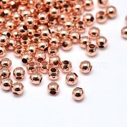 Laiton environnement perles rondes, sans plomb et sans cadmium et sans nickel, or rose, 2mm, Trou: 0.5mm