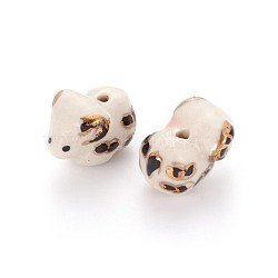 Perles de porcelaine imprimées manuelles, moutons, blanc, 13~16x18~20x12~13mm, Trou: 1.6mm(PORC-E015-16A)