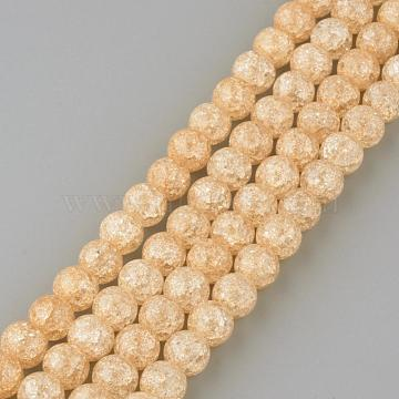 Synthetic Crackle Quartz Beads Strands, Round, Dyed, Saddle Brown, 6mm, Hole: 1mm, about 66pcs/strand, 15.7 inches(X-GLAA-S134-6mm-07)