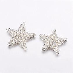 Perles en fil de fer, le thème de Noël, étoiles, argenterie, 25~28x5mm(IFIN-G038-S)