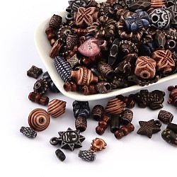 Mixed Antique Style Acrylic Beads/Pendants, Mixed Color, 6~22x6~10x3~12mm, Hole: 1~3mm(MACR-R546-04)