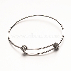 регулируемый 304 расширяемый браслет из нержавеющей стали, нержавеющая сталь цвет, 55~57x63~65 mm(STAS-D071)