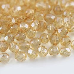 Perles de verre polies au feu tchèques, facette, tambour, palegoldenrod, 6x6mm, trou: 1 mm; environ 37 pcs / 10 g(X-GLAA-F100-D05)