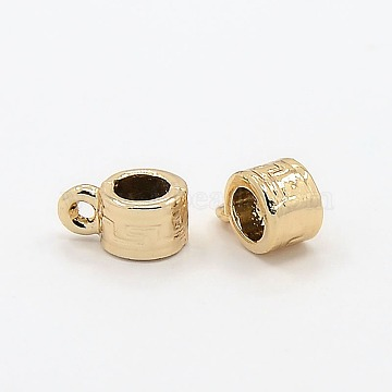 Nickel Free & Lead Free Golden Alloy Hanger Links, Bail Beads, Long-Lasting Plated, Rondelle, 11x7x5mm, Hole: 2mm, Inner Diameter: 5mm(PALLOY-J218-062G)