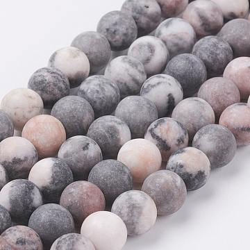 Natural Pink Zebra Jasper Beads Strands, Frosted, Round, 8mm, Hole: 0.8mm, about 47pcs/strand, 15.3 inches(39cm)(X-G-J376-46F-8mm)