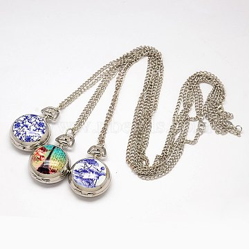 Flat Round Openable Printed Porcelain Pocket Watch Necklace, with Alloy Quartz Watch Dial and Iron Chain, Mixed Color, 31.5 inches; Watch: 40x30x15mm(WACH-M008-M)
