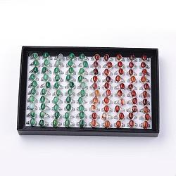 Bagues en naturel agate, avec les accessoires en alliage, taille mixte, ovale, platine, 16~18 mm; 100 pcs / boîte(G-S242-06-B)