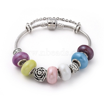 Brass European Bracelets, with Handmade Porcelain Rondelle Beads and Tibetan Style Alloy Beads, Flower and Column, Colorful, 7-1/2 inches(19cm)(BJEW-JB04791)