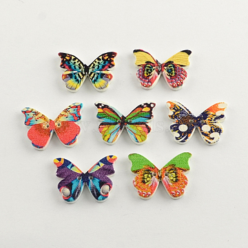 2-Hole Printed Wooden Buttons, Butterfly, Mixed Color, 21x28x3mm, Hole: 1.5mm(X-BUTT-R031-204)