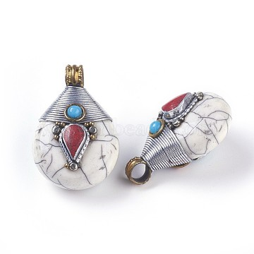 Tibetan Style Pendants, with Synthetic Turquoise, Brass Findings, teardrop, White, 26.5x38.5x21.5mm, Hole: 5.5mm(X-TIBEB-E079-14A)