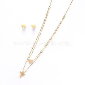 304 Stainless Steel Jewelry Sets, Stud Earrings and Pendant Tiered Necklaces, with Rhinestone, Cross and Heart, Golden, Necklace: 18.1 inches(46cm), 1.5mm; Stud Earrings: 7x8x1.2mm; Pin: 0.8mm(SJEW-O090-34G)