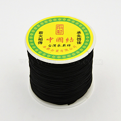 Cordons de fibre de polyester à fil rond, noir, 0.7mm, environ 100 m / bibone (OCOR-J003-02)