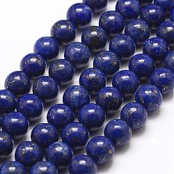 Natural Lapis Lazuli Bead Strands, Round, 8mm, Hole: 1mm; about 49pcs/strand, 15.5inches(395mm)