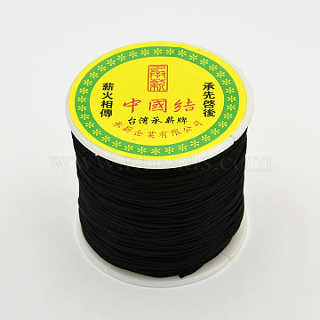 Round String Thread Polyester Fibre Cords, Black, 0.8mm, about 109.36 yards(100m)/roll(OCOR-J003-02)