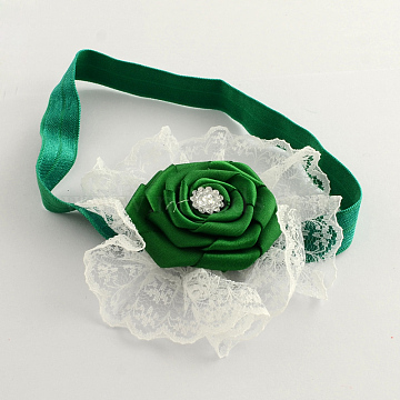 Fashionable Elastic Baby Lace Headbands Hair Accessories, Cloth Flower with Rhinestones, Green, 105mm(OHAR-Q002-11A)